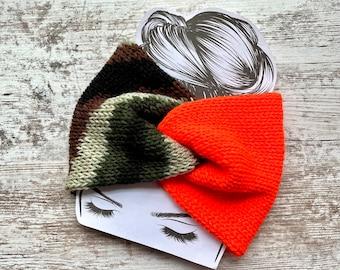 Camouflage and blaze orange twisted knit headband, knit earwarmer, winter headwear, womens winter hats