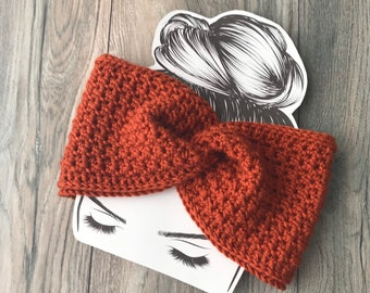 Pumpkin Spice twisted ear warmer, Harvest orange twisted head wrap, Fall Messy Bun Hat