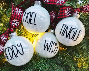 Rae Dunn style Christmas ornaments / Farmhouse style Ornament / jingle, merry, wish, noel