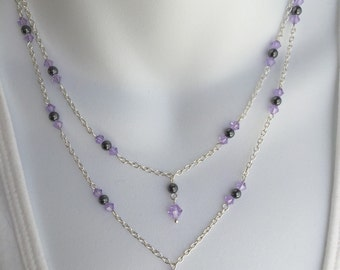 Double crystal dangle necklace and earring set
