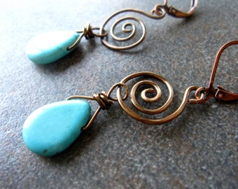 Handcrafted Turquoise Briolette Wire Wrapped Spiral Drop Earrings