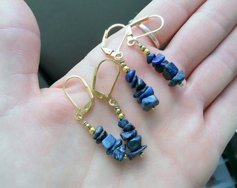 Reserved for Donna  Lapis lazuli and gold drop earrings