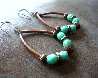 Turquoise and Copper Metal Hoop style earrings