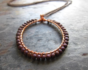 Handcrafted Wire Wrapped Mauve Seed Bead and Copper Hoop Pendant Necklace