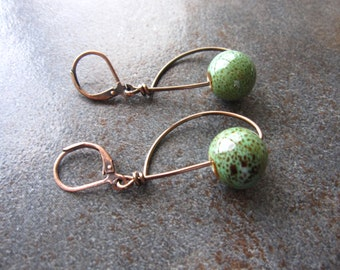 Handcrafted Forest Green Ceramic Bead on Antiqued Bronze Wire Earrings