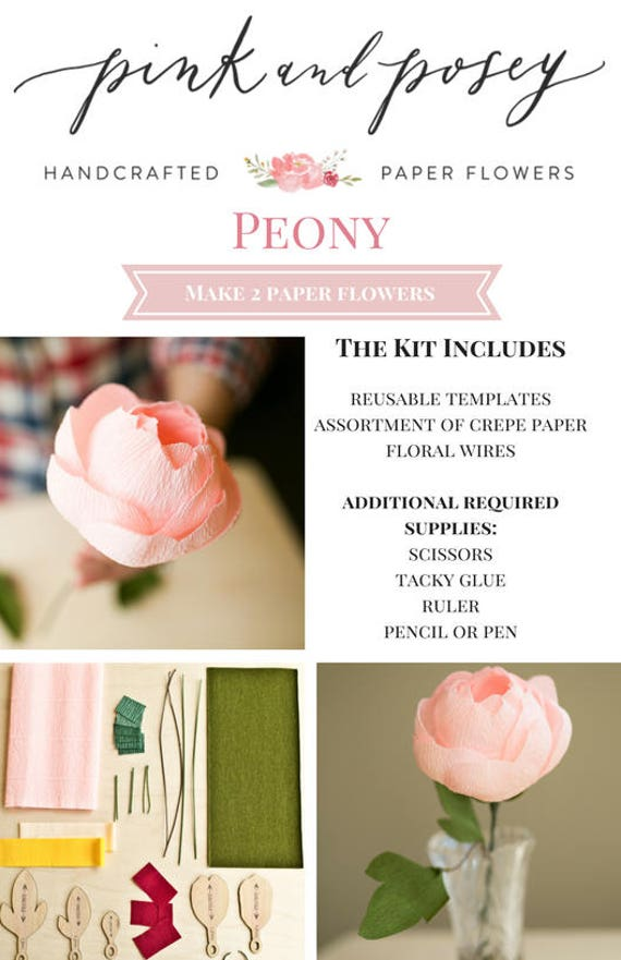 Paper Flower Kit Peony Etsy