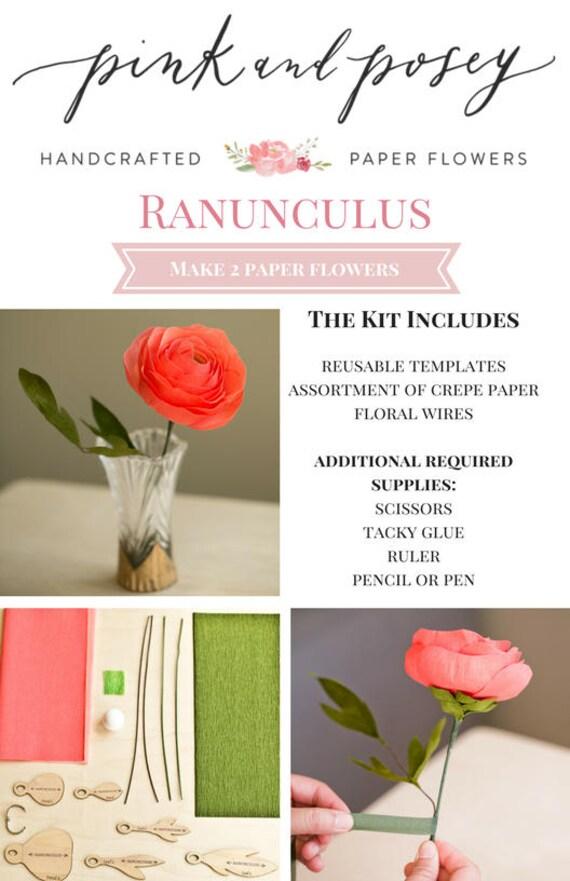 Paper Flower Kit Ranunculus Etsy