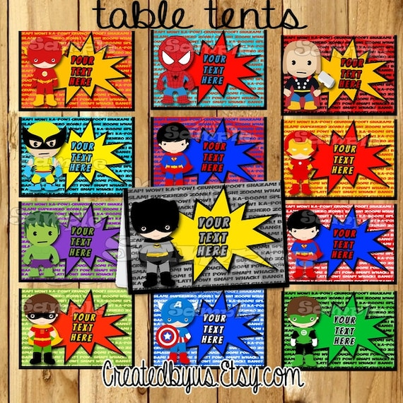 Superhero Tent Cards Name Table Place