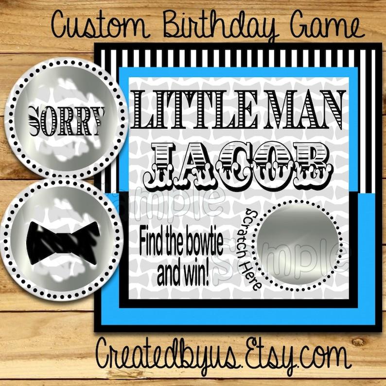 Little Man Birthday Scratch Off Cards Birthday Party Scratch off game cards Party Scratch off tickets little man game ideas boy12 Precut