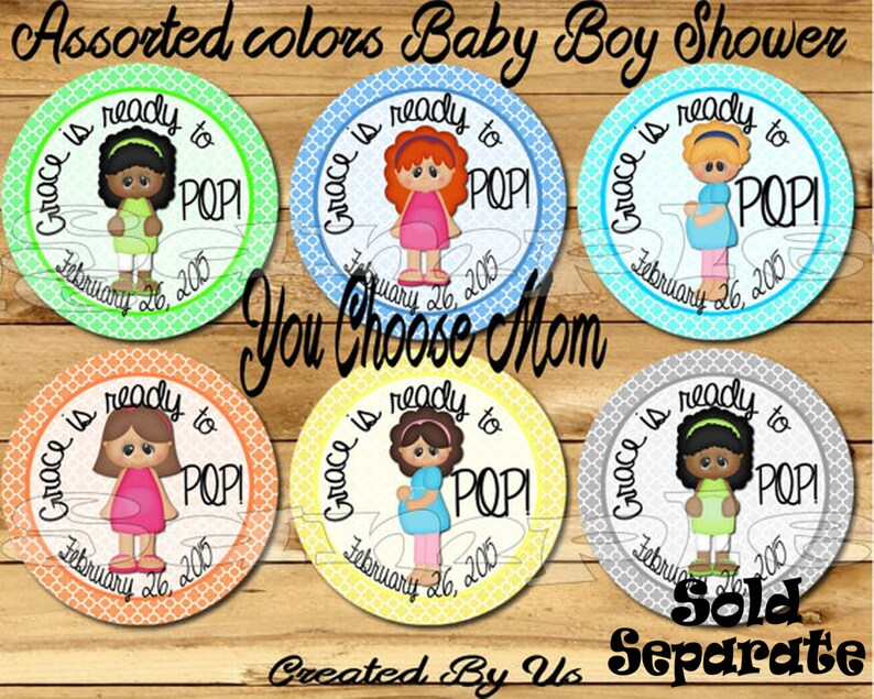 Baby Shower Balloon Stickers Labels Party favors cup stickers baby boy baby girl decorations Ready to Pop sticker decal Precut Personalized