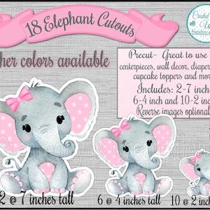 Baby Boy Elephant cutouts party decorations Little peanut baby shower It/'s a Boy Elephant diaper cake decor 1st Birthday ideas 18 Die cuts