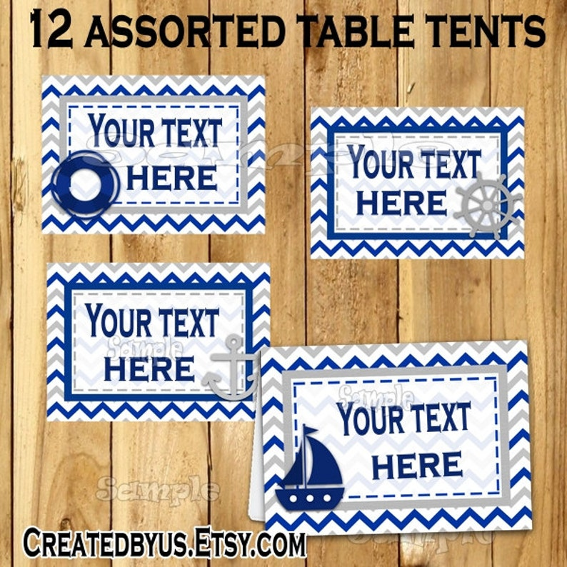 Nautical tent cards Baby shower Food Name card Table place card Table  decorations Birthday Food Cards Ahoy Sailor party buffet 12 PRECUT