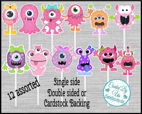 Girl Elephant Cupcake Toppers Watercolor Cute elephant Baby shower Birthday party favors cupcake picks Double Sided cake topper 12 assembled