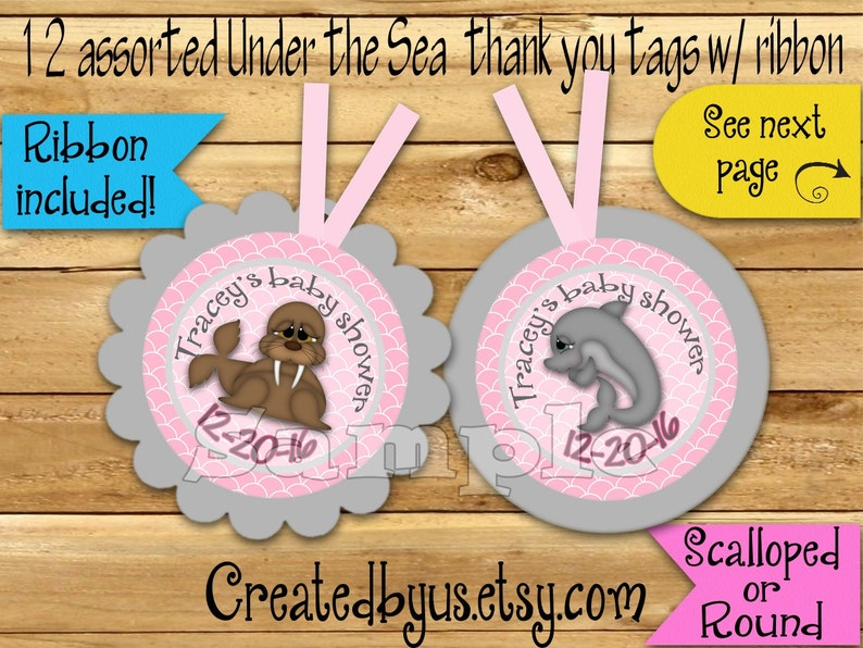 Baby girl Under the Sea Thank you tags Under sea Birthday Party favor tags Custom Gift tag Beach Birthday Party tag Ribbon incld /& assembled