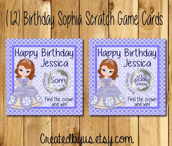 Sophia Birthday game Happy Birthday Scratch Off Cards Sophia Party ideas  game cards Party Scratch off tickets lottery cards 12 Precut