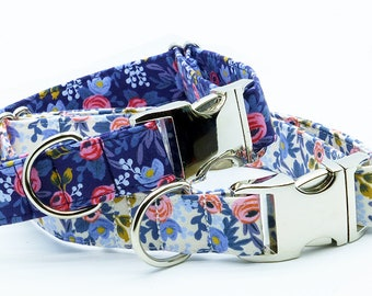 Dog Collar, Floral Dog Collar, Girl Dog Collar, Rifle Paper Fabric Dog Collar, Rifle Paper Fabric Pet Collar, for Dog Floral Dog Collar