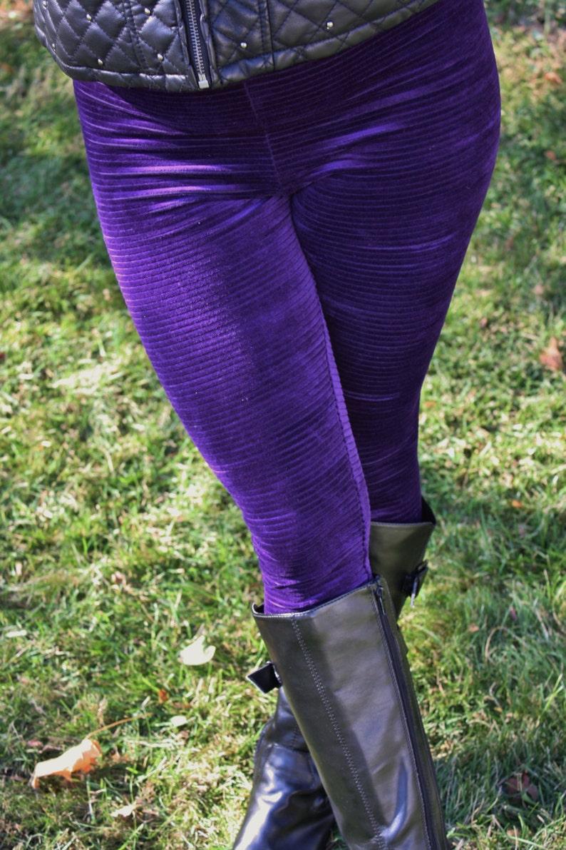 b685730ef4 Ladies Purple Ottoman Stripe Velvet Leggings pick your size | Etsy