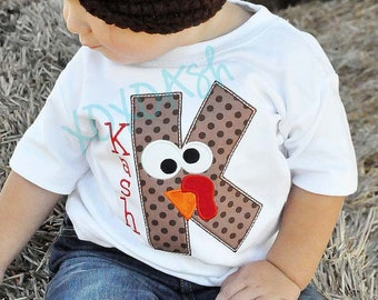 Thanksgiving Turkey Letter with Turkey Face--Great for Boys and Girls--Customized--Embroidered shirt or bodysuit