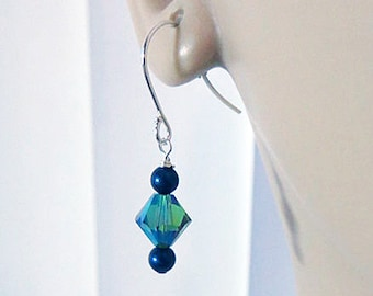 Green Crystal Earrings, Blue Pearl Earrings, Drop Earrings, Christmas Gift for Her, Swarovski Earrings, Mom Gift, Birthday Gift, Sister
