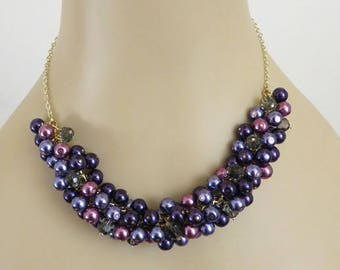 Purple Pearl Necklace, Gray Necklace, Crystal Necklace, Cluster Necklace, Chunky Necklace, Bridesmaid Necklace, Birthday Gift, Gold Necklace