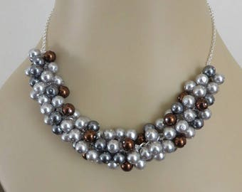 Gray Necklace, Pearl Necklace, Brown Necklace, Cluster Necklace, Chunky Necklace, Bridesmaid Jewelry, Birthday Gift for Her, Beaded Necklace