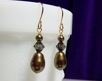 Swarovski Antique Brass Pearl Crystal Drop Gold Earrings, Christmas Gift Mother Wedding Bridesmaid Mom Birthday Gift Sister Girlfriend Gift