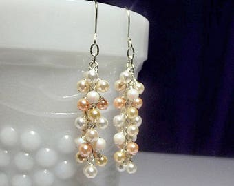 Swarovski Long Ivory Peach Light Gold Pearl Cluster Icicle Earrings Christmas Mom Sister Bridesmaid Birthday Girlfriend Mothers Day Gift