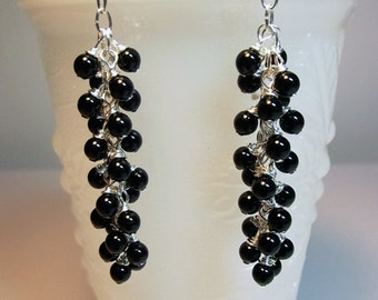Swarovski Black Long Pearl Icicle Earrings, Bridesmaid Mothers Day Valentines Christmas Mom Sister Girlfriend Aunt Birthday Jewelry Gift