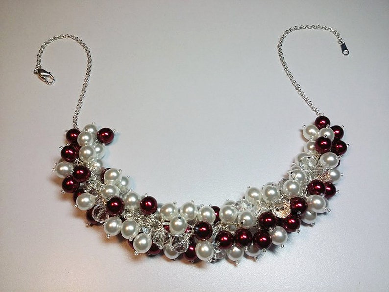 Red and White Pearl Crystal Cluster Necklace Mom Gift Valentines Gift Beaded Necklace Bridesmaid Girlfriend Gift