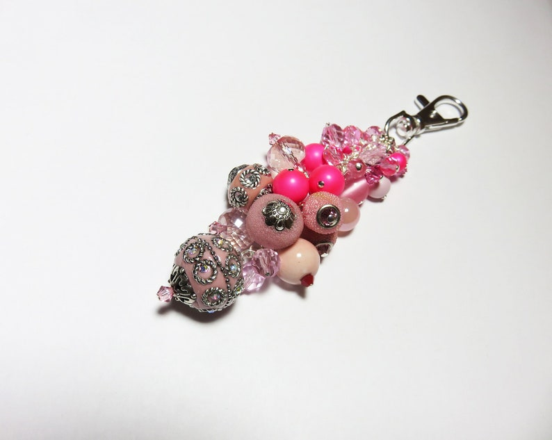 Sister Gift Pink Purse Bling Wife Gift Hot Pink Bouquet Purse Charm ONLY ONE Birthday Gift Pink Crystal Keychain Charm Bridesmaid Gift