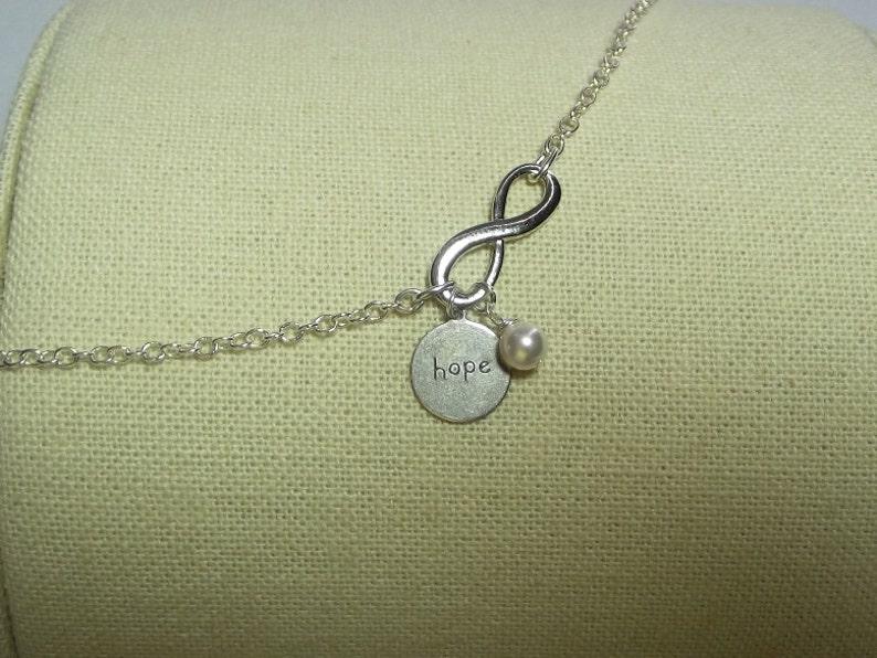 Christmas Gifts Wedding Jewelry Hope Infinity Charm Bracelet Pearl Charm Bracelet Sister Jewelry Silver Jewelry