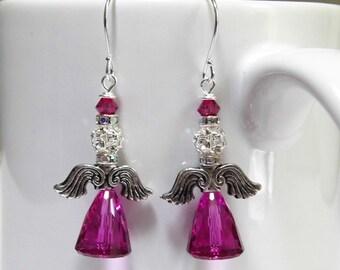 Christmas Angel Swarovski Earrings, Fuchsia Crystal Earrings, Christmas Earrings, Christmas Gift for Her, Birthday Gift, Wife Gift, Mom Gift