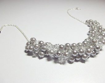Silver Pearl Necklace, Gray Necklace, Crystal Necklace, Bridesmaid Necklace, Cluster Necklace, Chunky Beaded Necklace, Birthday Gift for Her