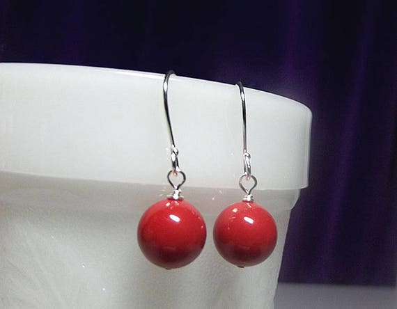 Red Pearl Earrings Swarovski Drop