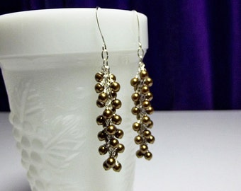 Swarovski Vintage Brass Long Pearl Cluster Icicle Earrings, Limited, Valentines Mothers Day Gift, Bridesmaid Wedding Mom Sister Birthday
