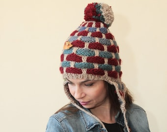 91247965704 Hand Knit Hat Earflap with Pompom by Solandia