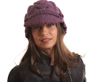 564bec254e4 Black HAND KNIT HAT Jockey Wool Cap Mohair Hat with Visor by