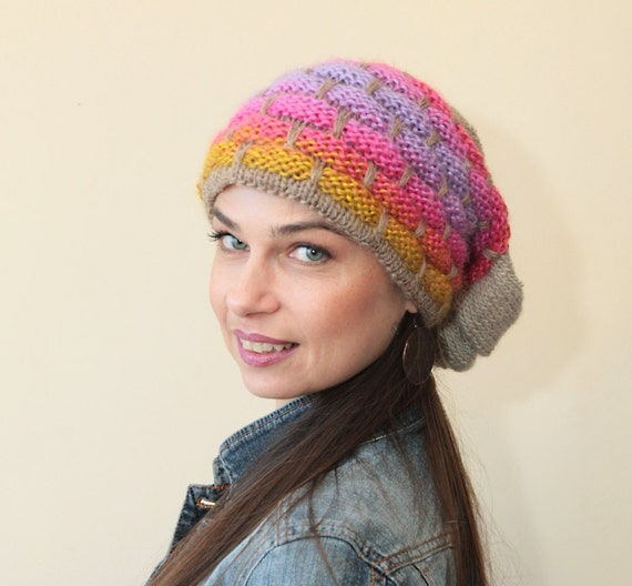 73647ac38bd Slouchy Beanie Knit Hat Colorful Slouch Hat by Solandia Hand