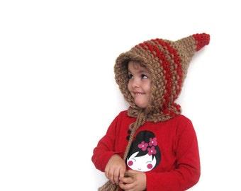 Knitted Children Wool Hat, Pointed Dwarf Hat, Knit Hat by Solandia, winter hat, beige, red