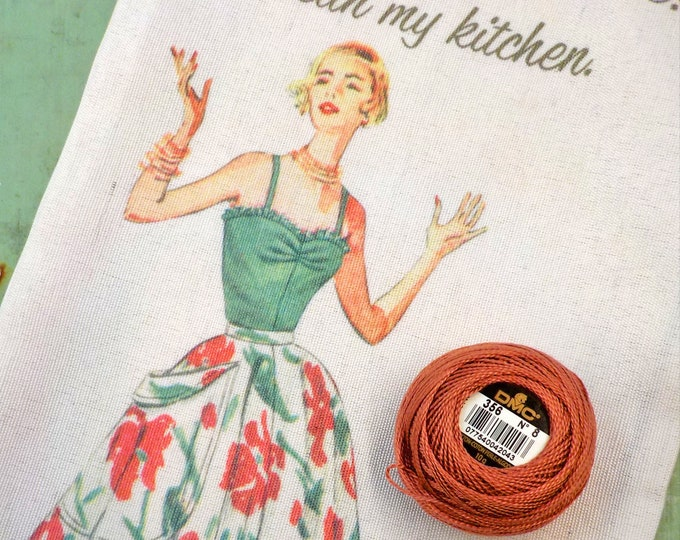 Clean my Kitchen pillow kit...featuring Simplicity Vintage collection tea towel and DMC size 8 perle cotton