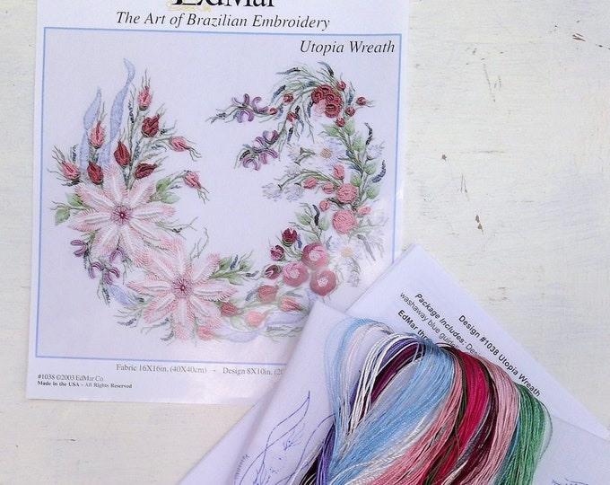 Utopia Wreath...EdMar 1038 project...Brazilian embroidery kit...diy embroidery kit