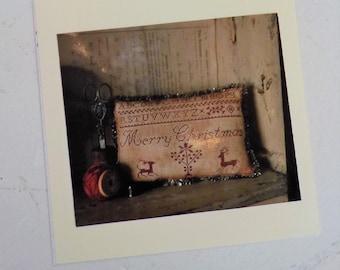Merry Christmas Pinkeep by Stacy Nash Primitives...cross stitch pattern