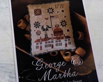 George and Martha by Plum Street Samplers...cross stitch pattern, 4th of July cross stitch, Americana cross stitch