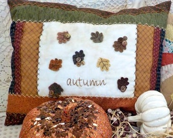 Autumn pillow kit complete with threads and wool...designed by Mickey Zimmer