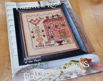 Valentine Rose, Anniversaries of the Heart Pattern 2, by Blackbird Designs...cross-stitch design