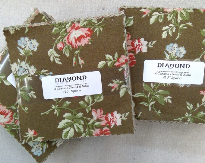 A Common Thread & Nikko...charm pack...5 inch squares...42 squares...Diamond Textile Wovens