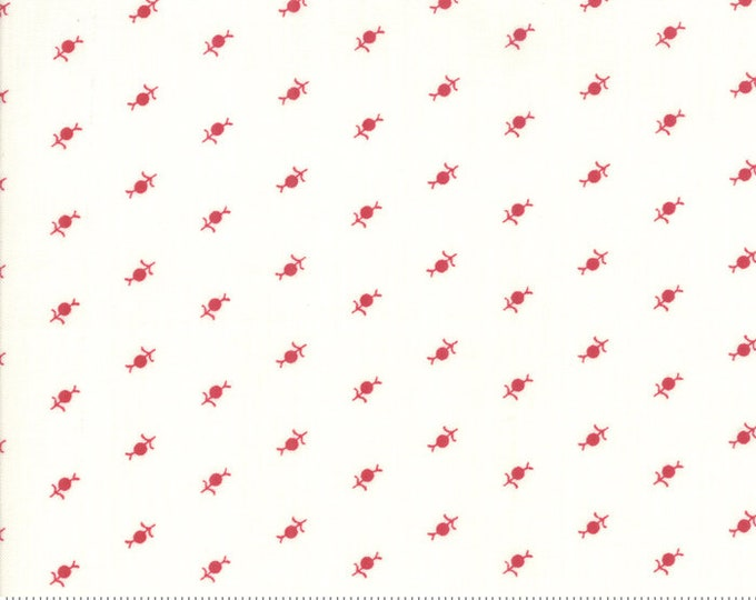 My Redwork Garden Cream Red 2952 13 designed by Bunny Hill Designs for Moda Fabrics