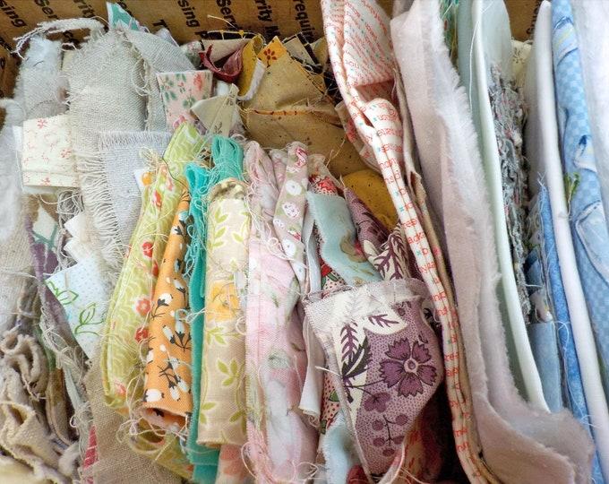 Box O'Scraps...scraps, scrap bin, scrap basket, fabric, sale fabric