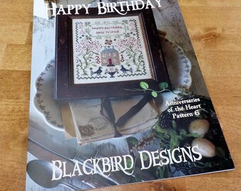 Happy Birthday, Anniversaries of the Heart Pattern 6, by Blackbird Designs...cross-stitch design
