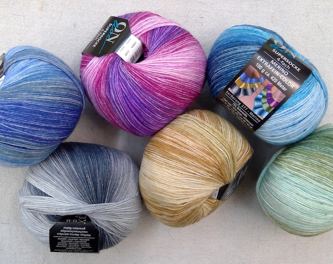 Online Yarns...Supersocke Merino extra fine...wool/polyamide...6 colors